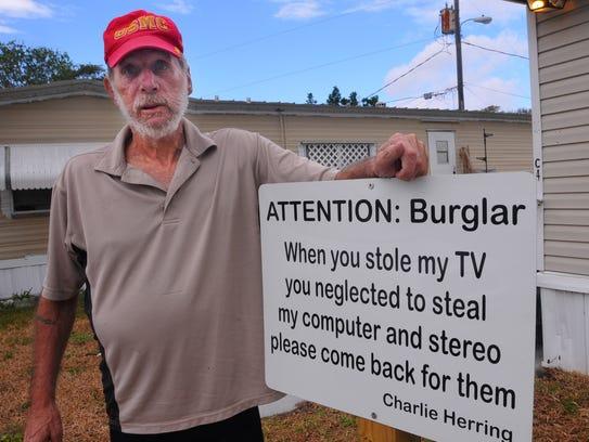Former Marine Charlie Herring lives in a trailer at