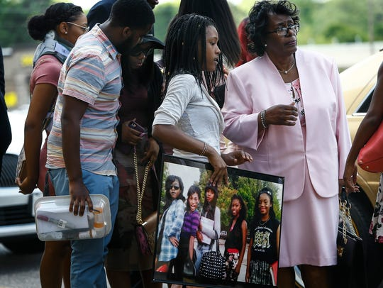 Family and friends attend the funeral of Chelsea Williams,