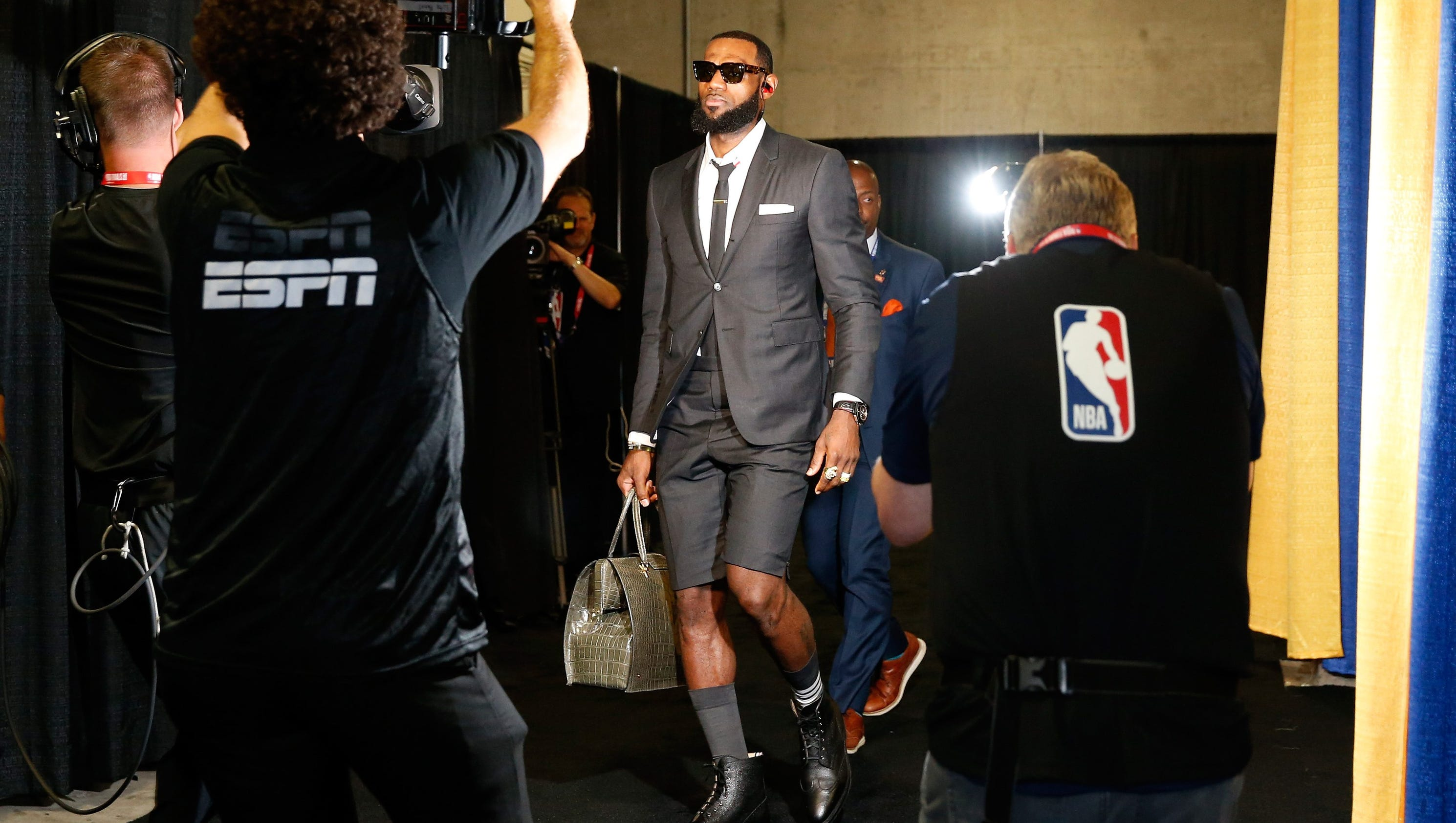 LeBron James rocks suit shorts to Game 1 of the NBA Finals