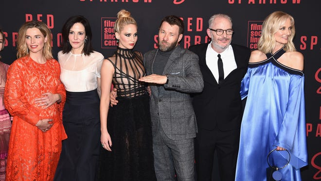 "(L-R) Thekla Reuten, Mary Louise Parker, Jennifer Lawrence, Joel Edgerton, director Francis Lawrence, and Joely Richardson attend the ""Red Sparrow"" New York Premiere at Alice Tully Hall on February 26, 2018 in New York City."