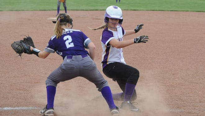 Unioto's Jayla Campbell steals third base in a contest against Logan, last season at Unioto High School. Campbell ended the year with a conference-leading 27 stolen bases.