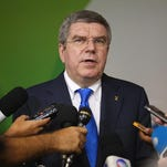 International Olympic Committee President Thomas Bach speaks to reporters while visiting the Rio 2016 Olympic Games headquarters on Wednesday in Rio de Janeiro, Brazil.