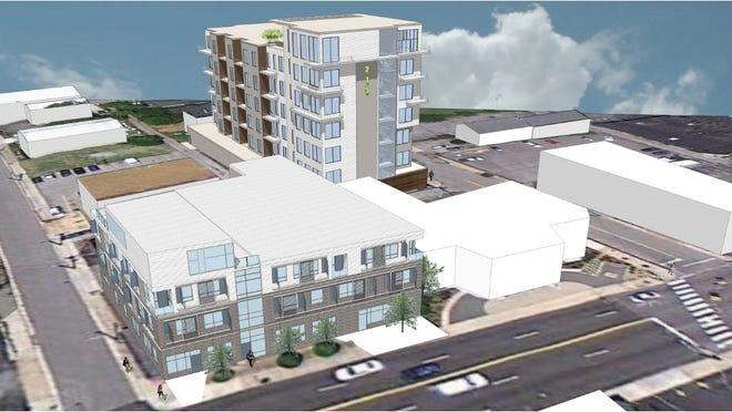 A 3-D aerial perspective showing the two-building Residences @ 15th & Church will sit near 15th and Church Street in Midtown.