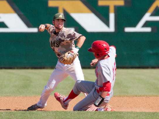 Acadiana's Brandon Duhon turns a double play against