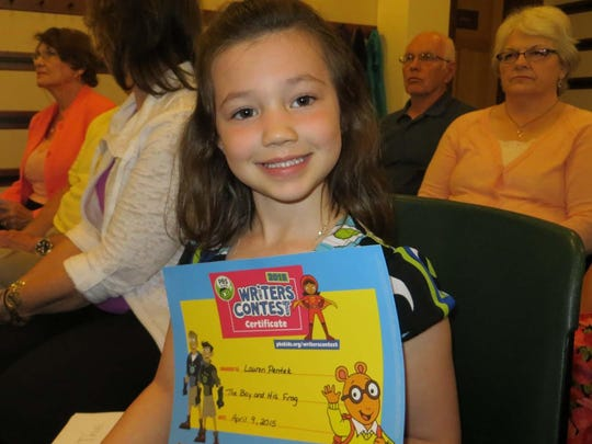 Lauren Pentek, a kindergartener at Roberts Elementary School, was recently notified that her entry in the 2015 PBS Kids Writer's contest took first place in her grade category for the competition. Children in kindergarten through third grade were invited to submit their originally written and illustrated stories by March 13. The local contest, sponsored by the Educational Communications Board and Wisconsin Public Television (WPT), gives youngsters an opportunity to expand their creative skills in the areas of storytelling, writing and drawing.