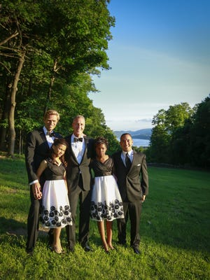 From left, Randy Florke; Essie Maloney Florke; Rep. Sean Patrick Maloney, D-Cold Spring; Daley Maloney Florke; and Reinel Florke pose for a family wedding photo June 21. The family is celebrating Sean Maloney and Randy Florke's marriage; the ceremony was held at the Church of St. Mary-in-the-Highlands in Cold Spring.