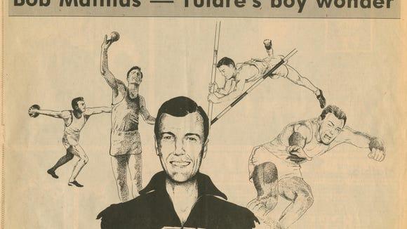 A newspaper cartoon shows Bob Mathias.