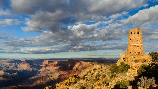 Desert View Watchtower is a landmark at the east end of Grand Canyon's South Rim.