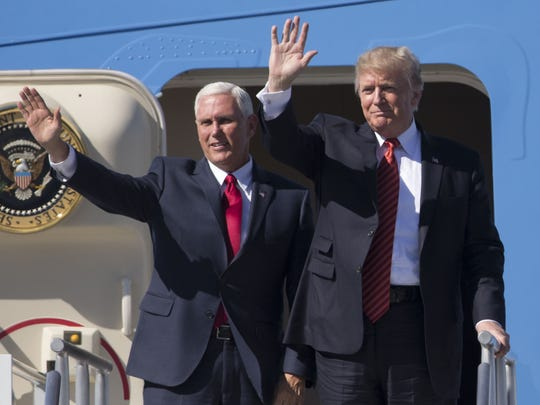 President Trump and Vice President Pence wave to supporters