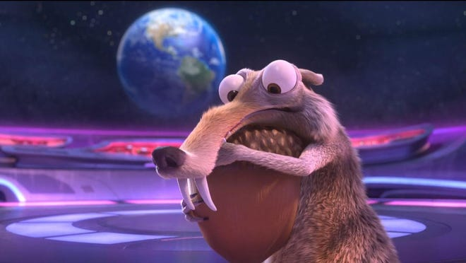 "Scrat's craving for acorns lands him aboard a spacecraft in ""Ice Age: Collision."""