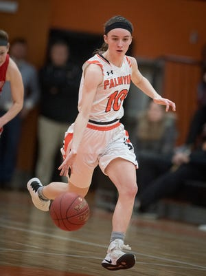 Palmyra's Amelia Baldo hit the game-winning shot at the buzzer in Palmyra's district quarterfinal win at Spring Grove on Friday night.