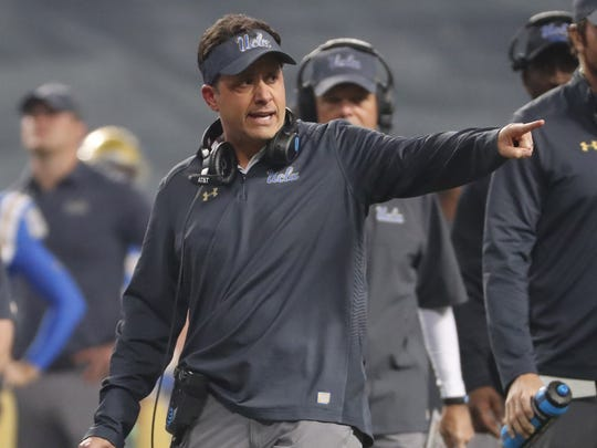 Los Angeles Rams senior offensive assistant coach Jedd Fisch, a New Jersey native, is seen here as UCLA's interim head coach directing his players against Kansas State during the first quarter of the Cactus Bowl at Chase Field in Phoenix, Ariz. December 26, 2017.