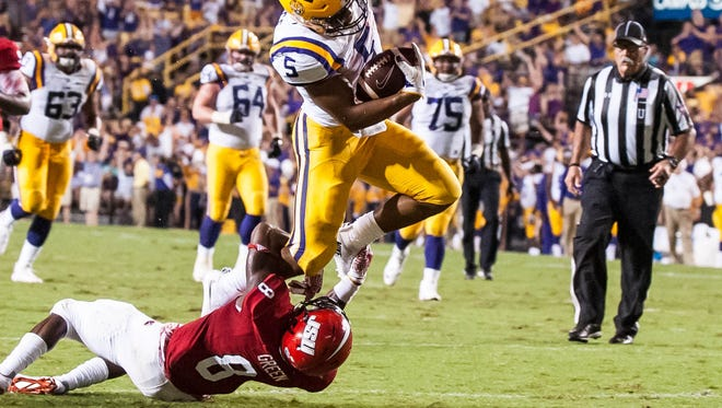 Advertiser photo by Buddy Delahoussaye-- LSU Tigers running back Derrius Guice (5) leaps to try to get in the end zone  but is stopped short during the first half of a non SEC game between Jacksonville State and the LSU Tigers in Death Valley on Saturday September 10, 2016.