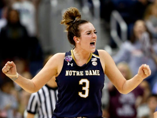 Notre Dame's Marina Mabrey celebrates during the second