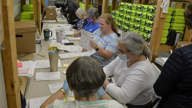 A vox writer questions why everyone wasn't wearing a face mask when processing absentee ballots. Shown: Workers process the ballots at the Chatham County Board of Elections office June 10.