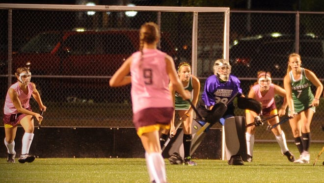 Salisbury's Abbey Shobe (9) jogs back as the Sea Gulls' defense prepares to defend a shot from York on Wednesday, Oct. 12, 2016 at Sea Gull Stadium in Salisbury.
