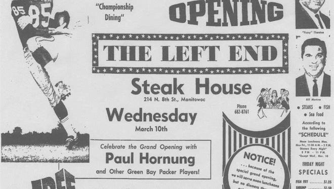 Grand opening advertisement for Left End Steak House from the March 9, 1965, Manitowoc Herald Times.