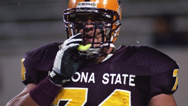 ASU offensive tackle Juan Roque prepares for the game against Boise State at Sun Devil Stadium in Tempe. ASU won the game 56-7 to improve to 5-0.