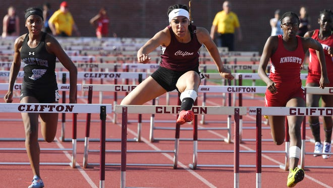 Big North Liberty Championships on Wednesday, May 2, 2018. Alenys Morales, of Clifton, on her way to finishing first in the 100M hurdles.
