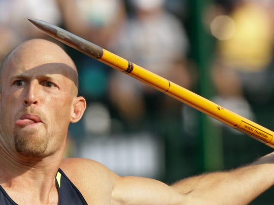 Tom Pappas prepares to throw his javelin in the decathlon javelin throw competition at the U.S. Olympic Track and Field Trials in Eugene, Ore., Monday, June 30, 2008.  (AP Photo/David J. Phillip)