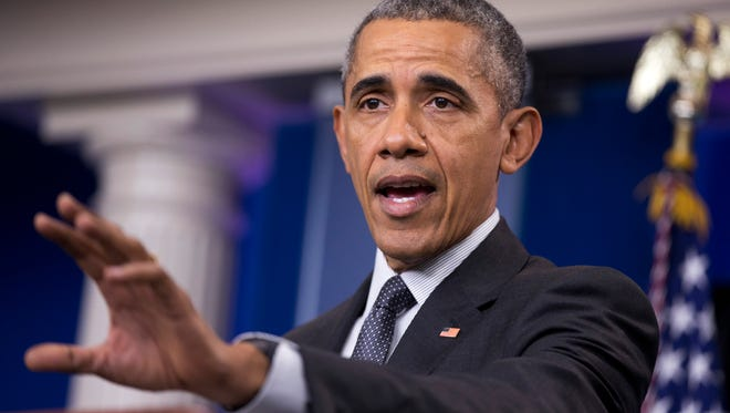 President Barack Obama speaks about the new rules aimed at deterring tax inversions, Tuesday, April 5, in the Brady Press Briefing Room at the White House in Washington.