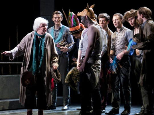 Stephanie Cole playing the Fool and full company in