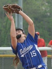 Centerville's Lauren Hompkomp catches a pop-up Monday