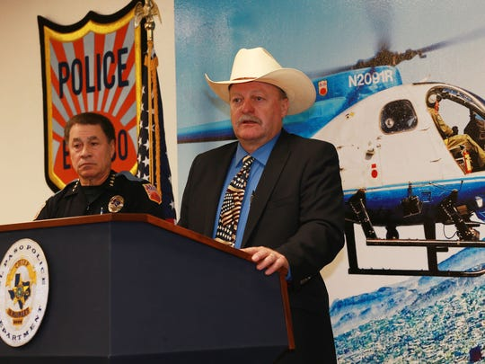 El Paso Police Department Detective Michael Aman spoke about the arrest of Willie James Johnson, 70, in Madison County, Miss. by El Paso police detectives 45 years after the crime was committed in El Paso. Chief Greg Allen is at left.