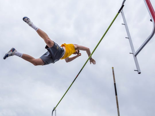 Salesianum's Matthewn Kosciewicz clears the bar to win the Division I Boys Pole Vault event at the DIAA Outdoor Track and Field Championships at Dover High School in Dover on Monday evening.
