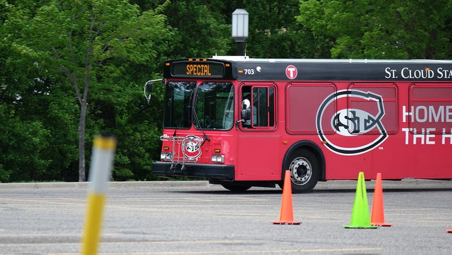 A St. Cloud Metro Bus driver approaches a bus roadeo obstacle in a 40-foot New Flyer.