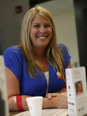 Rachel Gatz gave blood during a blood drive at the