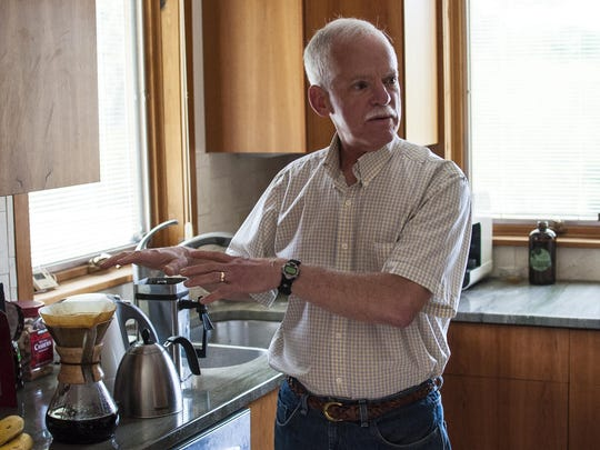 Rick Peyser makes coffee as he speaks about his career at Green Mountain Coffee Roasters at home in Underhill on Friday, May 15, 2015.