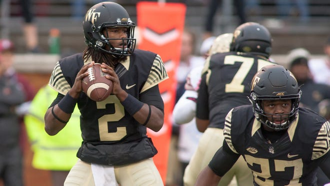 Despite being sidelined for the majority of the 2016 season with a knee injury, Wake Forest redshirt sophomore quarterback Kendall Hinton (2) will look to make a noteworthy impact against Florida State's defense.