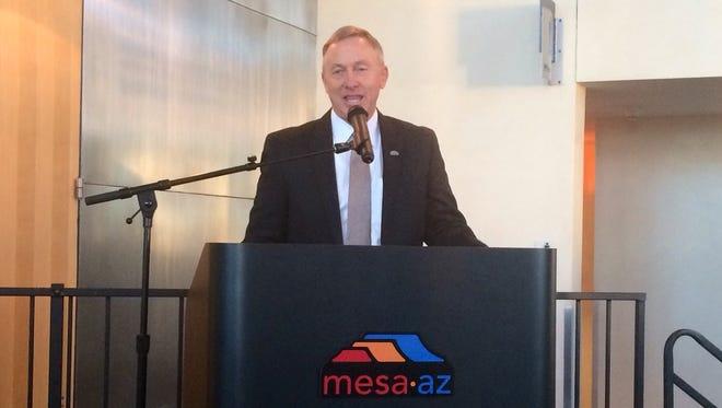 "Mesa Mayor John Giles addresses attendees at the ""For Our City"" interfaith leadership breakfast Jan. 6."