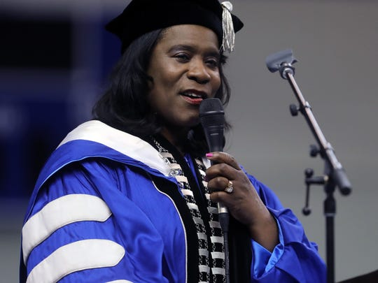 TSU President Glenda Glover speaks during a graduation ceremony at the Gentry Center in 2017.