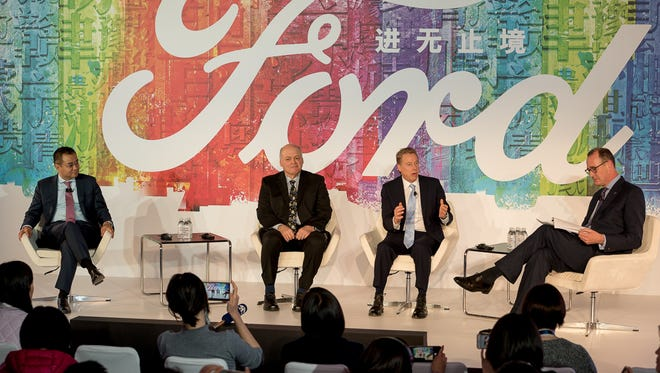 Ford in early December updated its China expansion strategy. This photo from that announcement shows (left to right): Jason Luo, chairman and CEO of Ford China who resigned Monday; Jim Hackett, CEO; Bill Ford, executive chairman; and Peter Fleet, group vice president and president, Ford Asia Pacific.