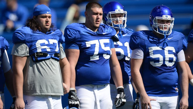 OT Tate Leavitt (75) during the UK spring football practice at Commonwealth Stadium in Lexington, Ky., on Saturday, March 26th, 2016.