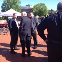 Former Jail Adminstrator Tommy Thompson, left, and former Deputy Chief Virgil Gammon talk with State Sen, Jim Tracy at the recent memorial service for fallen peace officers on the plaza in Murfreesboro.