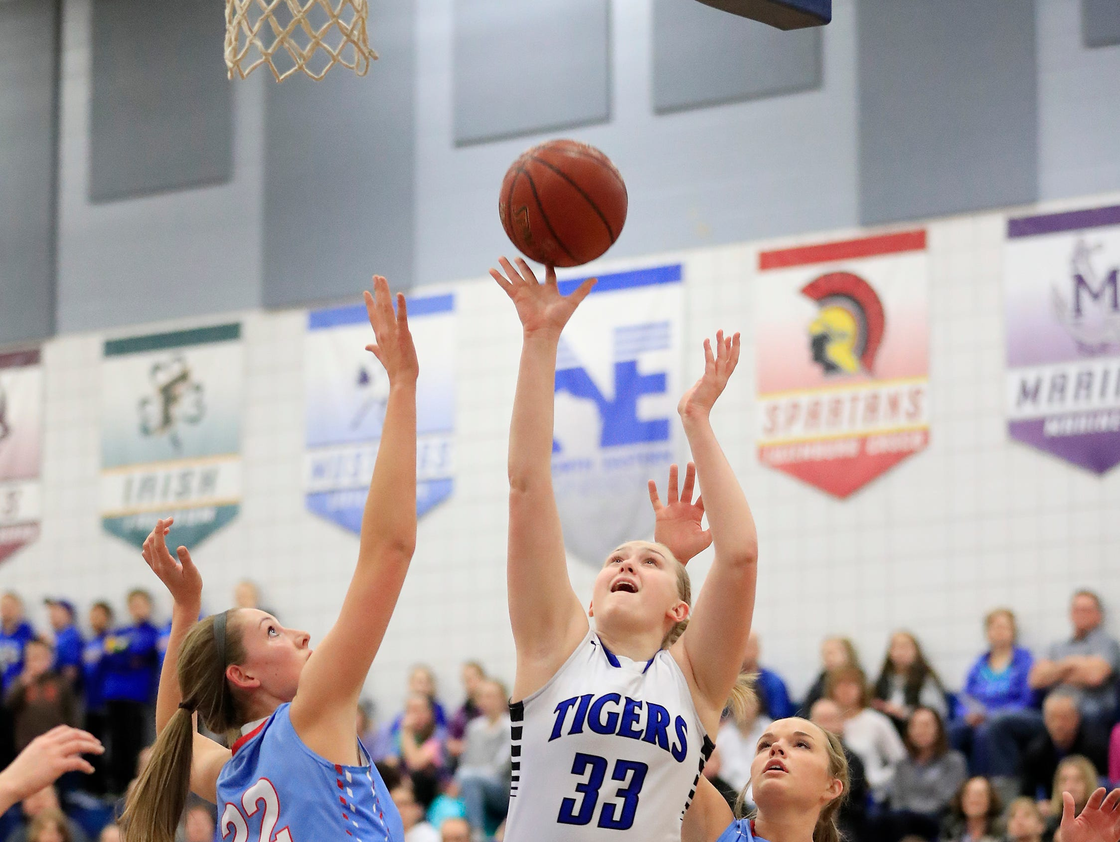 Wrightstown senior Lexy Wolske (33) shoots over Southern Door's Meghan LaCrosse (22) in a WIAA Division 3 regional final girls basketball game on Feb. 27. Wolske is averaging 7.7 points and 4.5 rebounds per game this season.