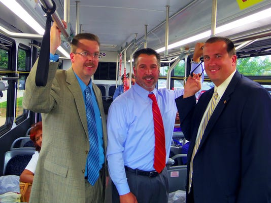 From left to right, Matt Boyer, executive director of Commuter Services of Pennsylvania; Rich Farr, executive director of Rabbittransit, and state Rep. Seth Grove, R-Dover Township; recently helped to kick off Commuter Services of Pennsylvania's Try Transit Month People who give transit a try in September could win prizes. (SUBMITTED)