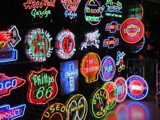 Matt Abbott, of Neon Warehouse, Inc., came in from Michigan to show and sell his custom neon signs during the Classic Car Show & Auction in Atlantic City.
