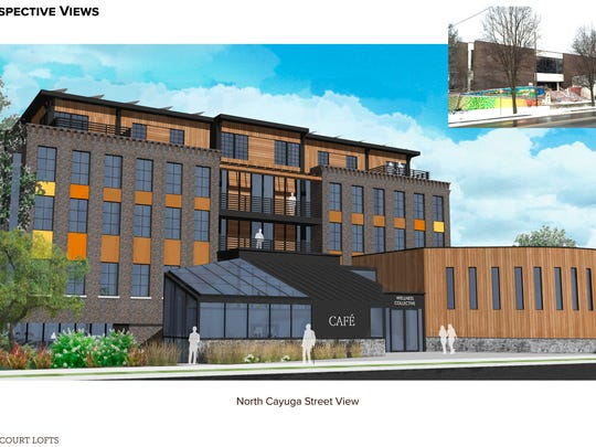 Rendering of the West Court Loft at the old Tompkins County Library property.