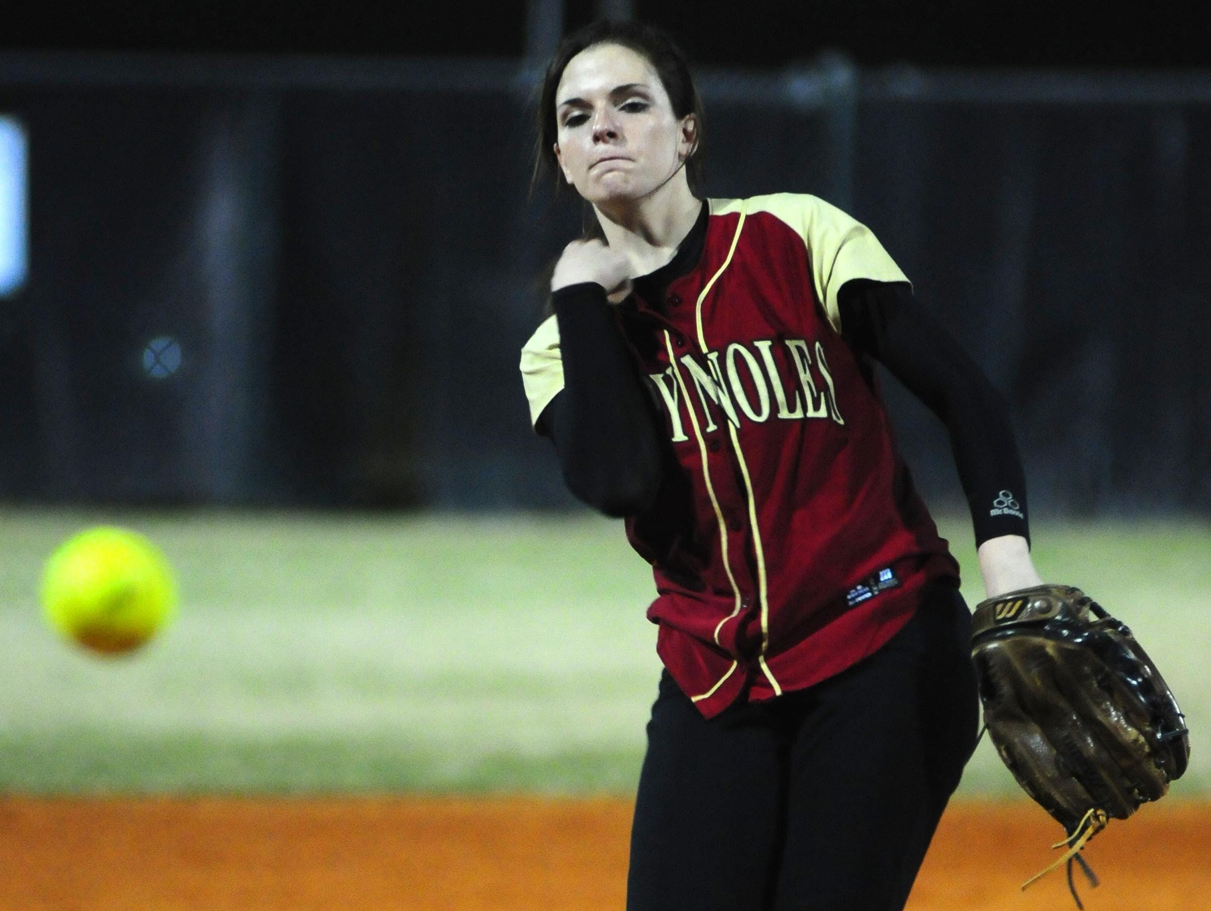 Florida High pitcher Taylor Rossman tosses a pitch during a game against Godby during her days as a dominating high school pitcher. Rossman is entering her senior at Jacksonville University.