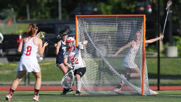 North Rockland goalie Caitlyn Lynch (22) works the