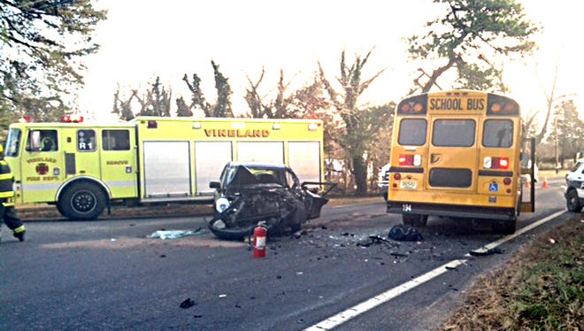In all, eight people were hospitalized, including five children, when a car and school bus were involved in a crash Monday morning at Oak and Orchard roads.