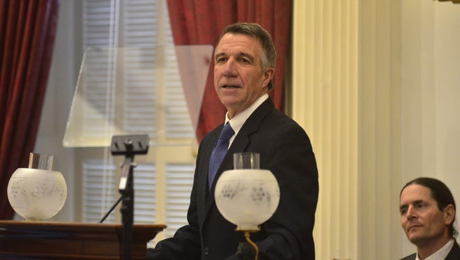 Gov. Phil Scott presents his first proposed budget to members of the House of Representatives and Senate on Jan. 24, 2017.