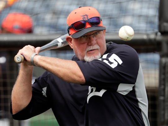 Detroit Tigers manager Ron Gardenhire hits ground balls to fielders before a spring exhibition against the Philadelphia Phillies, Tuesday, Feb. 27, 2018 in Clearwater, Fla.