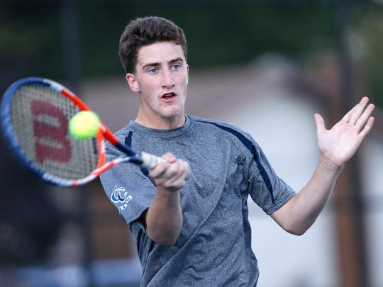 Jonah Switzer of Central Catholic returns to Luke Riley of Lafayette Jeff at No. 2 singles Wednesday, August 23, 2017, at Lafayette Jeff. Riley won 6-2, 6-4. Jeff defeated CC 4-1.