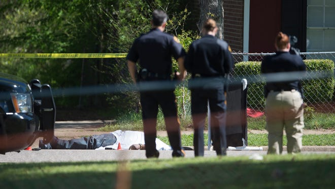 Montgomery Police investigate a death on the 3700 block of Riviera Road in Montgomery, Ala., on Thursday, April 6, 2017.