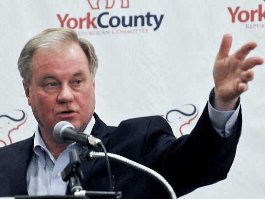 Scott Wagner speaks at a Republican Party victory party at the Holiday Inn in West Manchester Township Tuesday.
